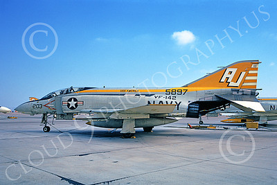 F-4USN 00016 A static McDonnell Douglas F-4J Phantom II US Navy 155897 VF-142 GHOSTRIDERS USS America NAS Miramar 3-1973 military airplane picture by Michael Grove, Sr