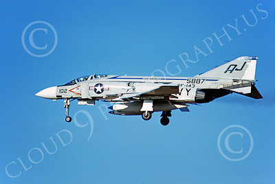 F-4USN 00110 A landing McDonnell Douglas F-4 Phantom II US Navy 5887 VF-143 PUKIN' DOGS USS America 10-1973 military airplane picture by Michael Grove
