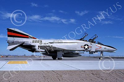 F-4USN 00581 A taxing McDonnell Douglas F-4N Phantom II US Navy 152229 VF-154 BLACK KNIGHTS USS Coral Sea NK NAS Fallon May 1981 military airplane picture by Michael Grove, Sr