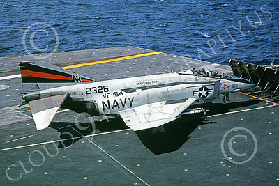 F-4USN 00549 A McDonnell Douglas F-4N Phantom II US Navy 2326 VF-154 BLACK KNIGHRTS on USS Coral Sea NK Jan 1982 military airplane picture by Pete Clayton