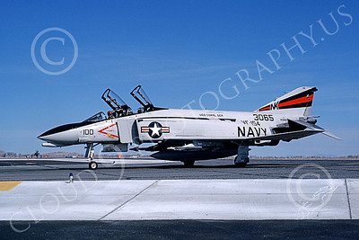 F-4USN 00500 A taxing McDonnell Douglas F-4 Phantom II US Navy 3065 VF-154 BLACK KNIGHTS commanding officer's USS Coral Sea NK NAS Fallon May 1981 military airplane picture by Michael Grove, Sr