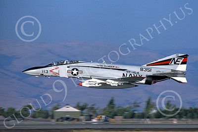 F-4USN 00042 A flying McDonnell Douglas F-4 Phantom II US Navy 8351 VF-154 BLACK KNIGHTS USS Ranger NAS Moffett 12-1975 military airplane picture by Michael Grove, Sr