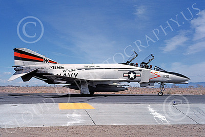 F-4USN 00164 A taxing McDonnell Douglas F-4 Phantom II US Navy 3065 VF-154 BLACK KNIGHTS comanding officer's USS Coral Sea NK NAS Fallon May 1981 military airplane picture by Michael Grove, Sr