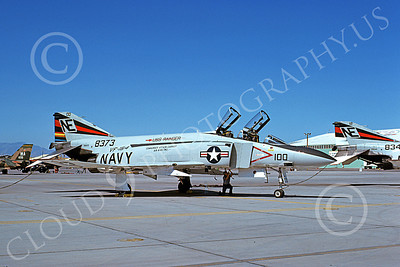 F-4USN 00661 A static McDonnell Douglas F-4J Phantom II US Navy 158373 VF-154 BLACK KNIGHTS CAG USS Ranger Nellis AFB 5-1975 military airplane picture by Don Logan