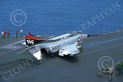 F-4USN 00052 A McDonnell Douglas F-4J Phantom II US Navy 153872 VF-161 CHARGERS USS Midway 9-1977 military airplane picture by Steve Daniels