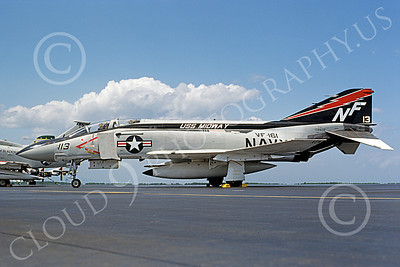 F-4USN 00857 A static McDonnell Douglas F-4J Phantom II US Navy 155835 VF-161 CHARGERS USS Midway NAF Misawa 9-1977 military airplane picture by Masumi Wada