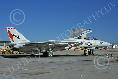 F-14USN  01249  A static Grumman F-14 Tomcat USN VF-191 SATAN'S KITTENS USS Independence NAS Miramar 1-1988, by Douglas D Olson