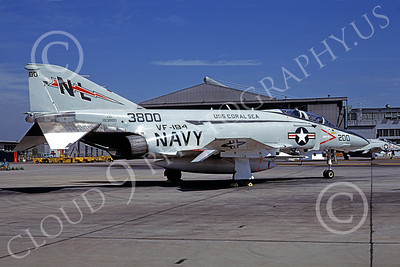 F-4USN 00407 McDonnell Douglas F-4J Phantom II US Navy 153800 VF-194 LEGENDARY RED LIGHTNINGS USS Coral Sea NAS Miramar 8 Oct 1977, by Robert L Lawson