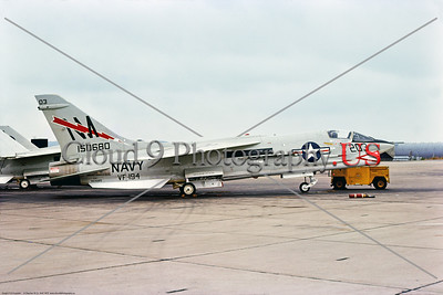 F-8-USN-VF-194 003 A static Vought F-8J Crusader USN jet fighter, 150680, VF-194 RED LIGHTNINGS, NM tail code, 11-1975, NAS Miramar, military airplane picture by Stephen W  D  Wolf     BBB_9219     Dt
