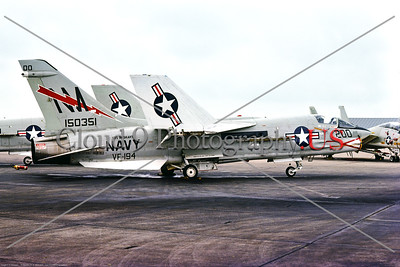 F-8-USN-VF-194 004 A static Vought F-8J Crusader USN jet fighter, 150351, VF-194 RED LIGHTNINGS, commanding officer's airplane, USS Oriskany, NM tail code, 11-1975, NAS Miramar, military airplane picture by Stephen W  D  Wolf     BBB_9231     Dt