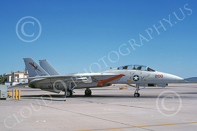 F-14USN  01253 A static Grumman F-14 Tomcat USN 161626 VF-194 LEGENDARY RED LIGHTNINGS NAS Miramar 3-1988, by Michael Grove, Sr