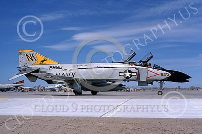 F-4USN 00595 A taxing McDonnell Douglas F-4J Phantom II US Navy 2990 VF-21 FREELANCERS commanding officer's USS Coral Sea NK NAS Fallon May 1981 military airplane picture by Michael Grove, Sr