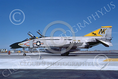 F-4USN 00573 A taxing McDonnell Douglas F-4N Phantom II US Navy  VF-21 FREELANCERS USS Coral Sea NK NAS Fallon May 1981 airplane picture by Michael Grove, Sr