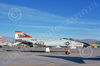 F-4USN 00701 A static McDonnell Douglas F-4J Phantom II US Navy 155832 VF-213 BLACK LIONS USS Kitty Hawk Nellis AFB 1-1975 military airplane picture by Don Logan