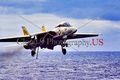 F-14USN-VF-32 014 A Grumman F-14 Tomcat, USN carrier based swing wing jet fighter, VF-32 SWORDSMEN, on final approach to land on USS John F  Kennedy, military airplane picture, 1974, by  Charles Canco, Stephen W  D  Wolf coll    DDD_3842     Dt