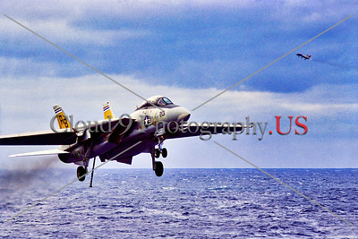 F-14USN-VF-32 004 A Grumman F-14 Tomcat, USN carrier based swing wing jet fighter, VF-32 SWORDSMEN, on final approach to land on USS John F  Kennedy, military airplane picture, 1974, by  Charles Canco, Stephen W  D  Wolf coll    DDD_3842     Dt