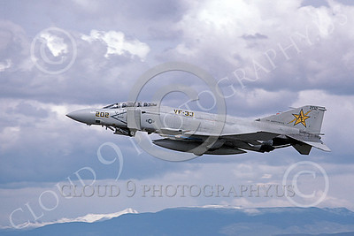 F-4USN 00494 A flying McDonnell Douglas F-4 Phantom II US Navy VF-33 TARSIERS USS Independence NAS Fallon May 1980 military airplane picture by Michael Grove, Sr