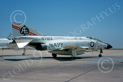 F-4USN 00103 A static McDonnell Douglas F-4J Phantom II US Navy 154783 VF-41 BLACK ACES USS Roosevelt AE code NAS Miramar 10-1969 military airplane picture by Doug Olson