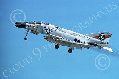 F-4USN 00014 A landing McDonnell Douglas F-4N Phantom II US Navy 151406 VF-41 BLACK ACES USS Roosevelt AE code 8-1975 military airplane picture by Michael Grove, Sr