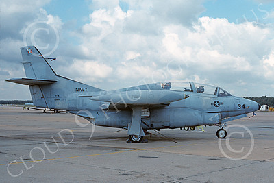 T-2USN 00101 A static low viz gray North American Aviation T-2C Buckeye USN 157056 VF-43 CHALLENGERS NAS Oceana 10-1988 military airplane picture by Samuel Spiteri