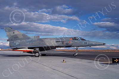 F-21-USN 00005 A taxing Israeli Aircraft F-21 Kfir jet fighter USN 199732 VF-43 CHALLENGERS NAS Fallon 11-1985 military airplane picture by Michael Grove, Sr