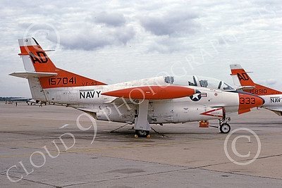 T-2USN 00071 A static North American Aviation T-2C Buckeye USN 157041 VF-43 CHALLENGERS AD code NAS Oceana 6-1983 military airplane picture by Michael Grove, Sr