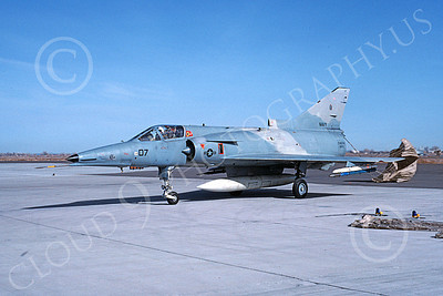 F-21-USN 00027 A taxing Israeli Aircraft F-21 Kfir jet fighter USN 999747 VF-43 CHALLENGERS with chute deployed NAS Fallon 3-1988 military airplane picture by Michael Grove, Sr