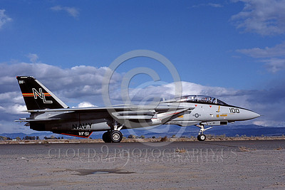 F-14USN 00691 A taxing USN F-14A Tomcat jet fighter 160655 VF-51 SCREAMING EAGLES NAS Fallon 10-1982, by Michael Grove, Sr