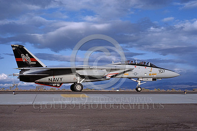 F-14USN 00699 A USN F-14A Tomcat jet fighter 160671 VF-51 SCREAMING EAGLES taxis at NAS Fallon 11-1982, by Michael Grove, Sr