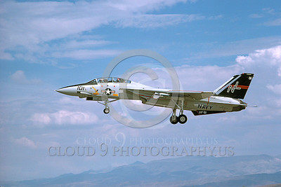 F-14USN 00688 A USN F-14 Tomcat jet fighter 160665 VF-51 SCREAMING EAGLES lands at NAS Fallon 8-1978, by Michael Grove, Sr