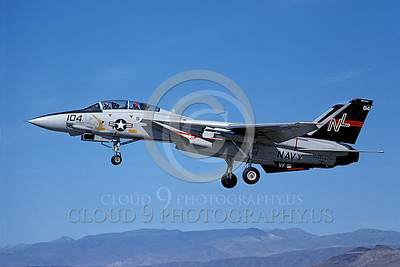 F-14USN 00702 A USN F-14A Tomcat jet fighter 160673 VF-51 SCREAMING EAGLES lands at NAS Fallon 6-1980, by Michael Grove, Sr