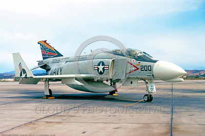 CAG-F-4USN 00001 A static colorful McDonnell Douglas F-4 Phantom II USN jet fighter 153059 VF-51 SCREAMING EAGLES USS Midway CAG Air Wing Five NF code NAS Miramar 12-1971 military airplane picture by Peter J  Mancus     DONEwt