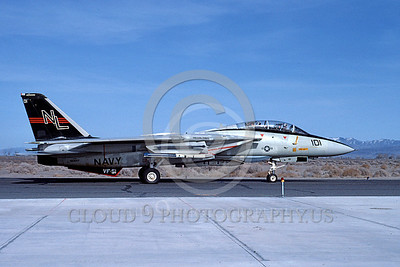 F-14USN 00697 A USN F-14A Tomcat jet fighter 160657 VF-51 SCREAMING EAGLES USS Carl Vinson taxis with a Phoenix missile at NAS Fallon 3-1984, by Michael Grove, Sr