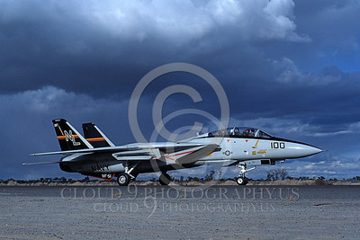 F-14USN 00689 A taxing USN F-14 Tomcat jet fighter 160655 VF-51 SCREAMING EAGLES NAS Fallon 10-1982, by Michael Grove, Sr