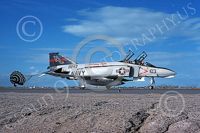 F-4USN 00302 A taxing McDonnell Douglas F-4 Phantom II US Navy 2243 VF-51 SCREAMING EAGLES with chute NL NAS Fallon May 1976 military airplane picture by Michael Grove, Sr