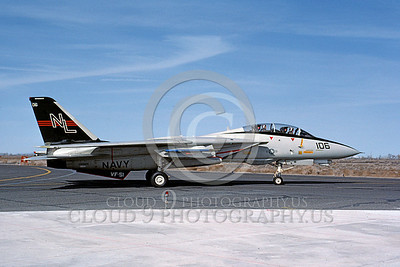 F-14USN 00698 A USN F-14A Tomcat jet fighter 160669 VF-51 SCREAMING EAGLES taxis at NAS Fallon 3-1984, by Michael Grove, Sr