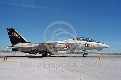 F-14USN 00693 A taxing USN F-14A Tomcat jet fighter 162602 VF-51 SCREAMING EAGLES USS Carl Vinson with Phoenix missile NAS Fallon 6-1989, by Michael Grove, Sr