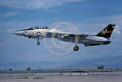 F-14USN 00700 A USN F-14A Tomcat jet fighter 160667 VF-51 SCREAMING EAGLES lands at NAS Fallon 8-1978, by Michael Grove, Sr