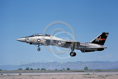 F-14USN 00696 A USN F-14A Tomcat jet fighter 160677 VF-51 SCREAMING EAGLES lands at NAS Fallon 6-1980, by Michael Grove, Sr
