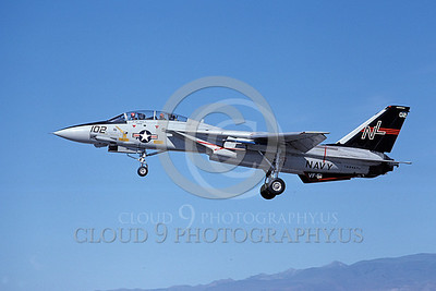 F-14USN 00704 A USN F-14A Tomcat jet fighter 160667 VF-51 SCREAMING EAGLES lands at NAS Fallon 6-1980, by Michael Grove, Sr