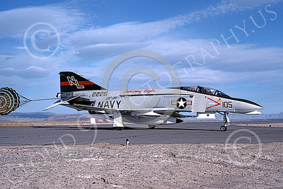 F-4USN 00144 A taxing McDonnell Douglas F-4 Phantom II US Navy 2226 VF-51 SCREAMING EAGLES with chute NL NAS Fallon May 1976 military airplane picture by Michael Grove, Sr