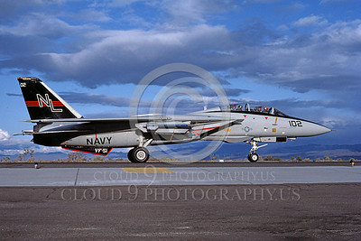 F-14USN 00701 A USN F-14A Tomcat jet fighter 160661 VF-51 SCREAMING EAGLES taxis at NAS Fallon 11-1986, by Michael Grove, Sr