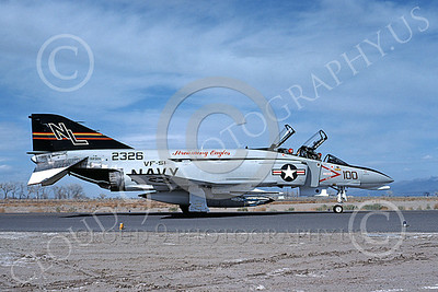 F-4USN 00486 A taxing McDonnell Douglas F-4 Phantom II US Navy 2326 VF-51 SCREAMING EAGLES commanding officer's NL NAS Fallon May 1976 military airplane picture by Michael Grove, Sr