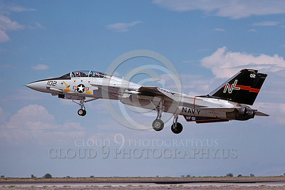F-14USN 00692 A USN F-14A Tomcat jet fighter 160667 VF-51 SCREAMING EAGLES lands at NAS Fallon 8-1978, by Michael Grove, Sr