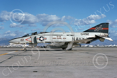 F-4USN 00368 A static McDonnell Douglas F-4 Phantom II US Navy 0492 VF-51 SCREAMING EAGLES USS Coral Sea NL NAS Moffett March1976 military airplane picture by Michael Grove, Sr