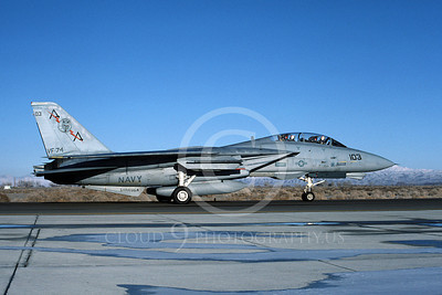 F-14USN 00845 A taxing Grumman F-14 Tomcat USN VF-74 BEDEVILERS USS Saratoga NAS Fallon 2-1985, by Michael Grove, Sr