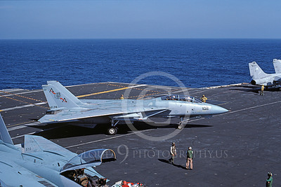 F-14USN 00835 A taxing Grumman F-14 Tomcat USN VF-74 BEDEVILERS USS Saratoga 11-1984, by Andy Collins