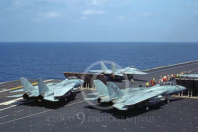 F-14USN 00863 Grumman F-14 Tomcats USN VF-74 BEDEVILERS lon USS Saratoga 6-1985, by Ken Tufts