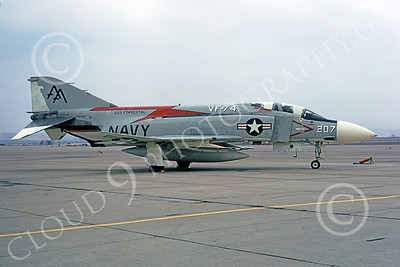 F-4USN 00345 McDonnell Douglas F-4J Phantom II US Navy 153787 VF-74 BEDEVILERS USS Forrestal NAS Miramar 1973, military airplane picture, by Michael Grove, Sr