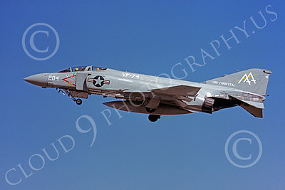 F-4USN 00914 A flying McDonnell Douglas F-4J Phantom II US Navy 154786 VF-74 BEDEVILERS USS Forrestal 7-1979 military airplane picture by Michael Grove, Sr